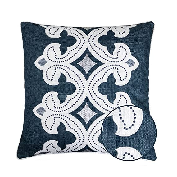 Homey Cozy Applique Throw Pillow Cover,Navy Series Modern Line Decorative Square Couch Cushion Pillow Case 20 x 20 Inch, Cover Only - Top quality and stylish throw pillow | This beautiful cotton oversized pillow adds elegance to any living space.There are noble,elegant,retro,classic,stylish pattern,the woven thread stand out against the eggshell fabric background. Hidden zipper for easy removal | At the end of the cushion cover there is a smooth hidden zipper that allows easy insertion or removal.Careful select top brand zipper with high-end quality for stronger and more durable everlasting for your bedroom or living room decoration. Durable polyester fabric | Durable 100% polyester pillowcases,the fabric is thick,high quality,soft,breathable environmental protection.Well contexture fabric is skin-friend,comfort and soft. - living-room-soft-furnishings, living-room, decorative-pillows - 61DxstxQVmL. SS570  -