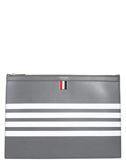 12318946d7 Thom Browne Men's Mac061a00198025 Grey Leather Clutch: Amazon.co.uk:  Clothing