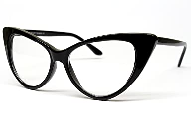 57a5556333f Amazon.com  Vintage Cat Eye Clear Sunglasses Eyeglasses Womens Black E16   Clothing