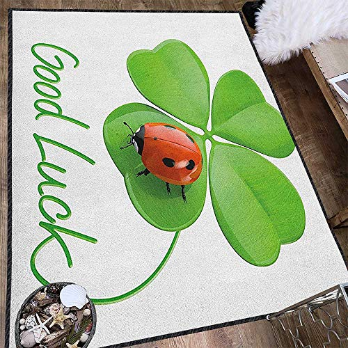 (Going Away Party Natural Fiber Area Rug,Lucky Symbols Four Leaf Clover with Ladybug Irish Charm Good Luck Reusable and Easy to Clean Green Red Black 71