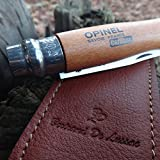 """Opinel n8 with Leather Sheath. Durable and Effective Carbon Pocket Knife made in France with """"Bertand de Lussac"""" Brown Leather Sheath"""