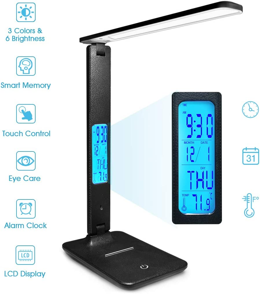 Touch Desk Lamp - Wireless LED Desk Lamp with Smart Features (Clock, Alarm, Date, Temperature) - Adjustable, Foldable Table Lamp - 3 Levels of Dimmable Lighting - Suitable for Office, Bedroom, Study