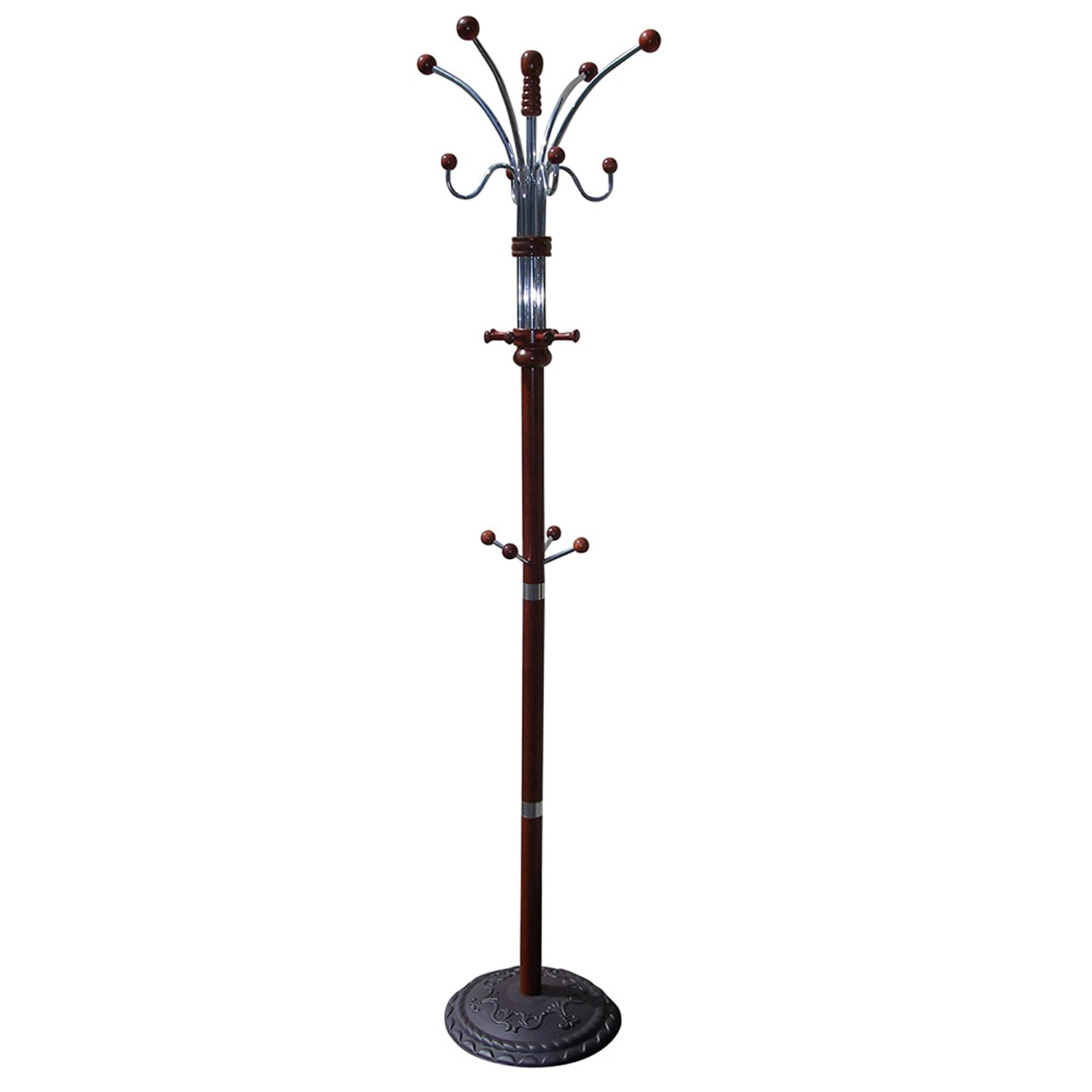 ORE International R685CH Six Foot Wood and Chrome Coat Rack Cherry Finish
