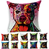 SUSYBAO Cotton Linen Canvas Decorative Square Throw Pillow Cover Pack of 1 for 18 x 18 Pillow Inserts in Sofa Home Car Couch (Funny Dog Style 6)