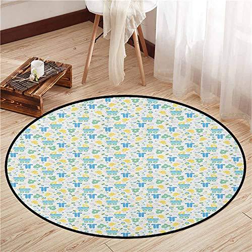 Round Carpets,Baby,Retro Newborn Items Stroller Rubber Duck Milk Bottle Pin Pyjamas Pattern,Children Crawling Bedroom Rug,3'11