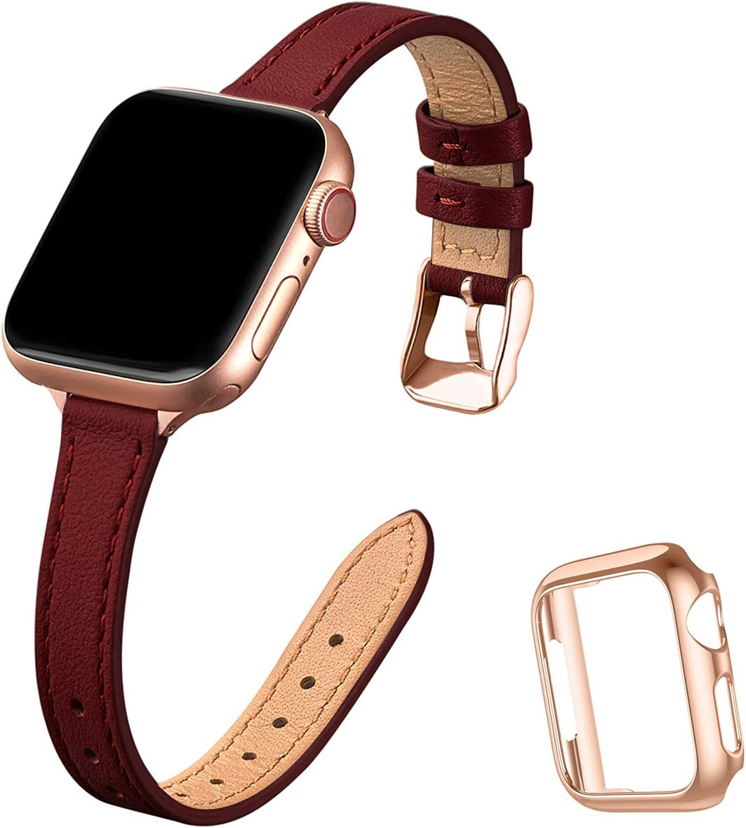 STIROLL Slim Leather Bands Compatible with Apple Watch Band 38mm 40mm 42mm 44mm, Top Grain Leather Watch Thin Wristband for iWatch SE Series 6/5/4/3/2/1 (Wine Red with Rose Gold, 42mm/44mm)