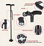 Walking Sticks,Collapsible Trekking Poles,Folding Canes, Freehawk® Anti Shock Handle with Sponge Adjustable Height Functional Folding Safety Canes with LED Flashlight - Fit for Hiking / Walking