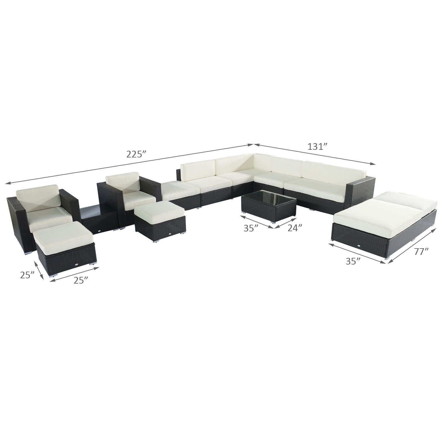 Amazon Outsunny 14pc Outdoor PE Rattan Wicker Sectional