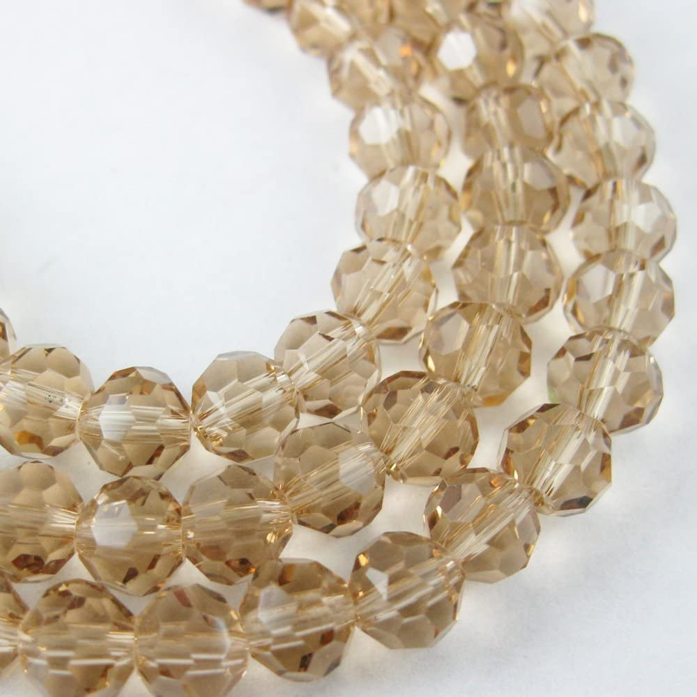 Pcs Art Hobby Crafts Champagne Czech Crystal Glass Faceted Round Beads 4mm 90