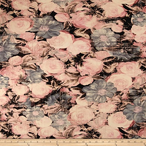 Telio Venice Stretch ITY Knit Floral Pink/Grey Fabric By The (Floral Stretch Jersey)