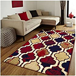 Superior Modern Viking Collection Area Rug, 10mm Pile Height with Jute Backing, Chic Textured Geometric Trellis Pattern, Anti-Static, Water-Repellent Rugs - Red Blue, 5' x 8' Rug