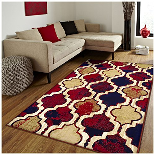 Geometric Rug Area Modern Contemporary (Superior Modern Viking Collection Area Rug, 10mm Pile Height with Jute Backing, Chic Textured Geometric Trellis Pattern, Anti-Static, Water-Repellent Rugs - Red Blue, 8' x 10' Rug)