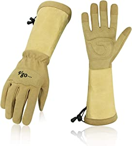 Vgo... Ladies' Synthetic Leather Palm with Long Pig Split Leather Cuff Rose Garden Gloves (Size S, Brown,SL6592W)