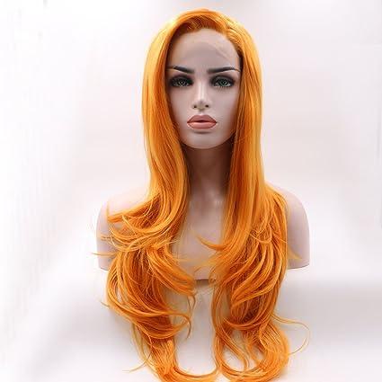 Peluca de encaje frontal Fantasy Beauty, de color naranja natural, para maquillaje diario con