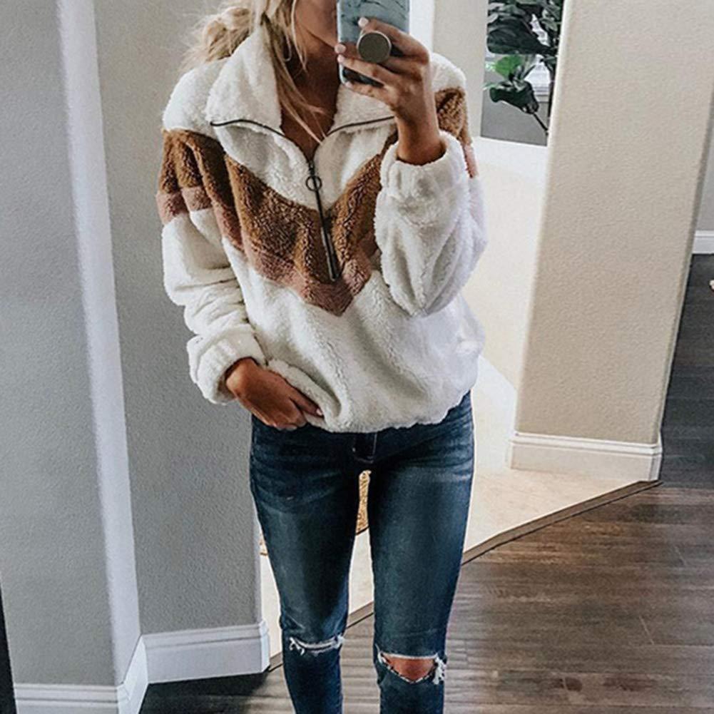 Womens Sweatshirt-Long Sleeve 1//4 Zip Up Jacket Pullover Coat Pockets Womens Casual Long Sleeve Pullover Sweatshirt