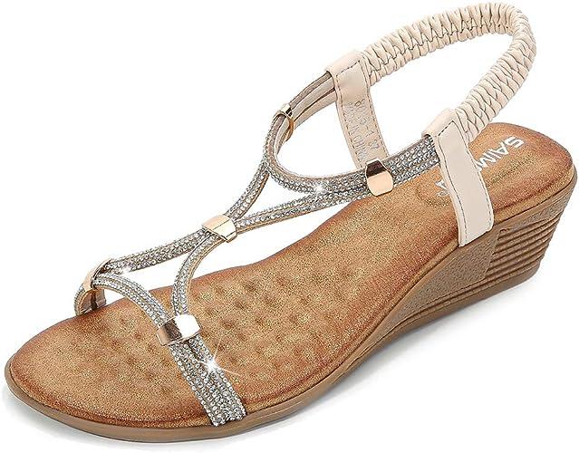 ZAPZEAL Summer Diamante Wedge Sandals