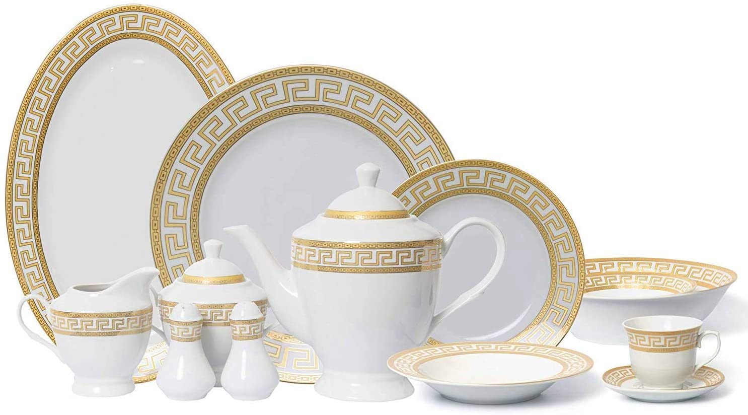 Euro Porcelain 7-pc Banquet Dinnerware Set, Luxury Tableware Dining  Service for 7