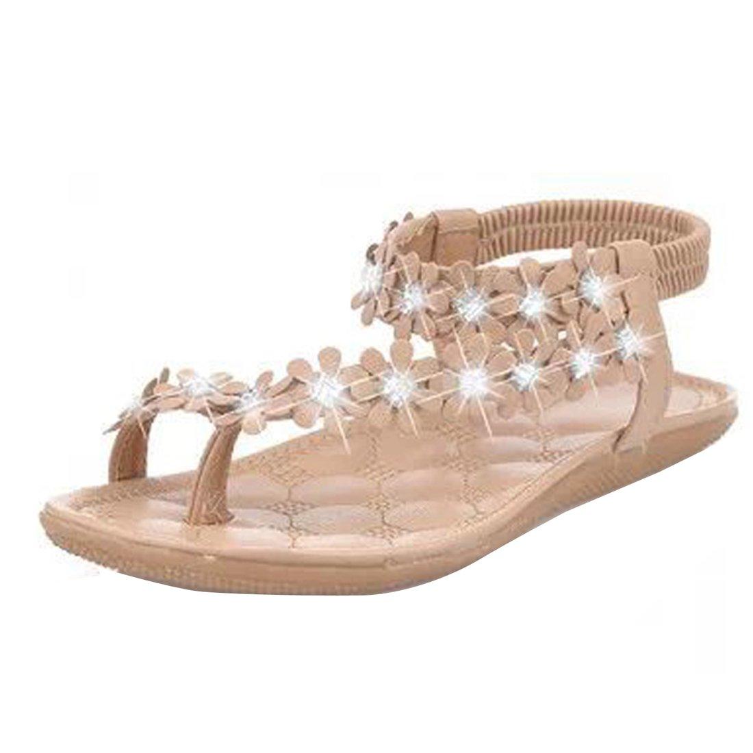 3a4d572468e88 Amazon.com | Gaorui Women Ladies Beach Bohemia Sandals Slingback Ankle Strap  Slingback Rhinestone Flower Flats Thong Slipper | Flip-Flops