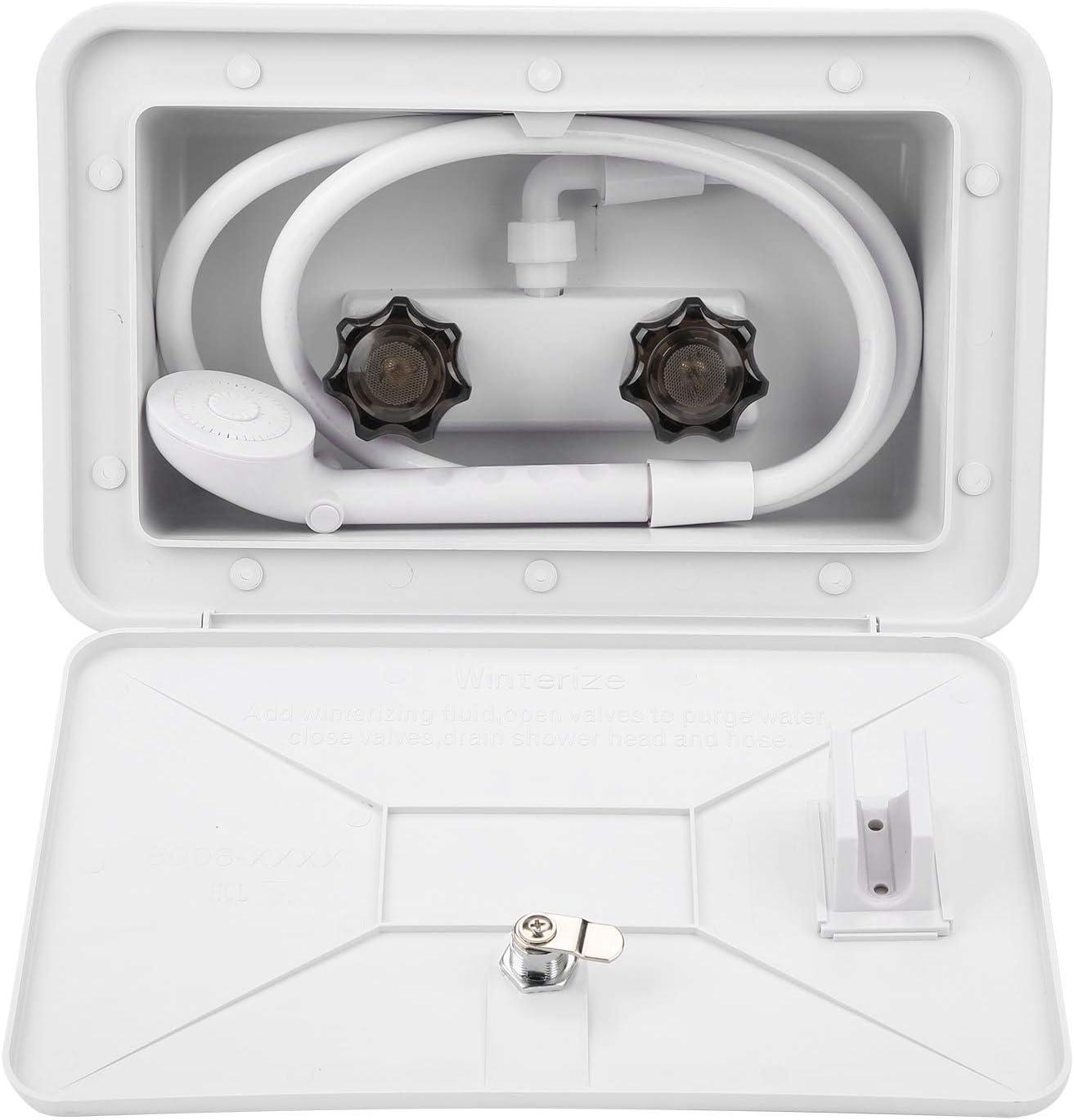 zhuolong Caja de Ducha Exterior Kit de Lavado al Aire Libre con Accesorio de Cerradura para Autocaravana de Barco