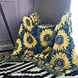 Soft, comfortable fabric Classic American country tapestry blankets can be used as tablecloth mats, bed mats, versatile blankets, bed towel, decorative blankets (Color : Sunflower, Size : 125 175CM)