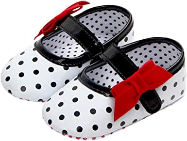Newborn Infant Baby Girl Soft Sole Bowknot Print Anti-slip Casual Shoes Toddler