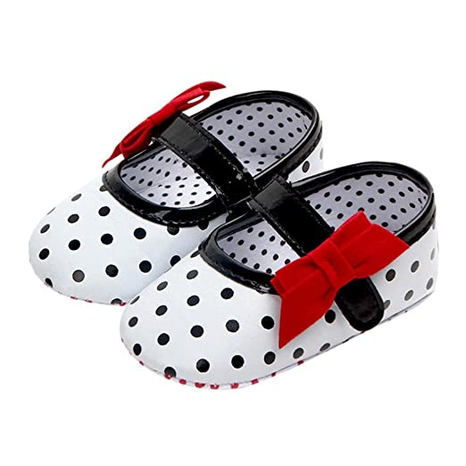 Baby Girl Soft Sole Shoes Dots Bowknot Toddler Anti-slip Shoes Newborn To Mother & Kids
