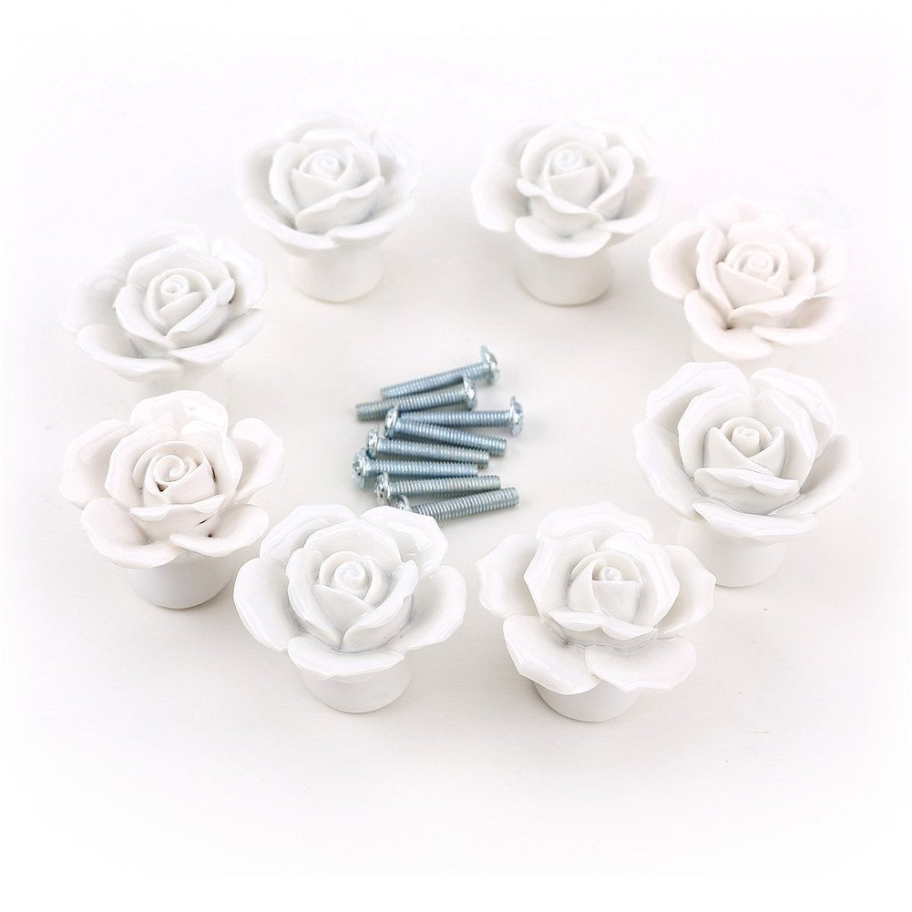 Aution House 8Piezas 30MM Cer᭩ca Pomo con Forma de Flores del Cristal Tirador de Anilla Cer᭩ca Tirador del Caj