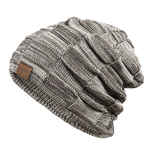 REDESS Beanie Hat For Men and Women Winter Warm Hats Knit Slouchy Thick Skull Cap Variegated Mix-Brown by
