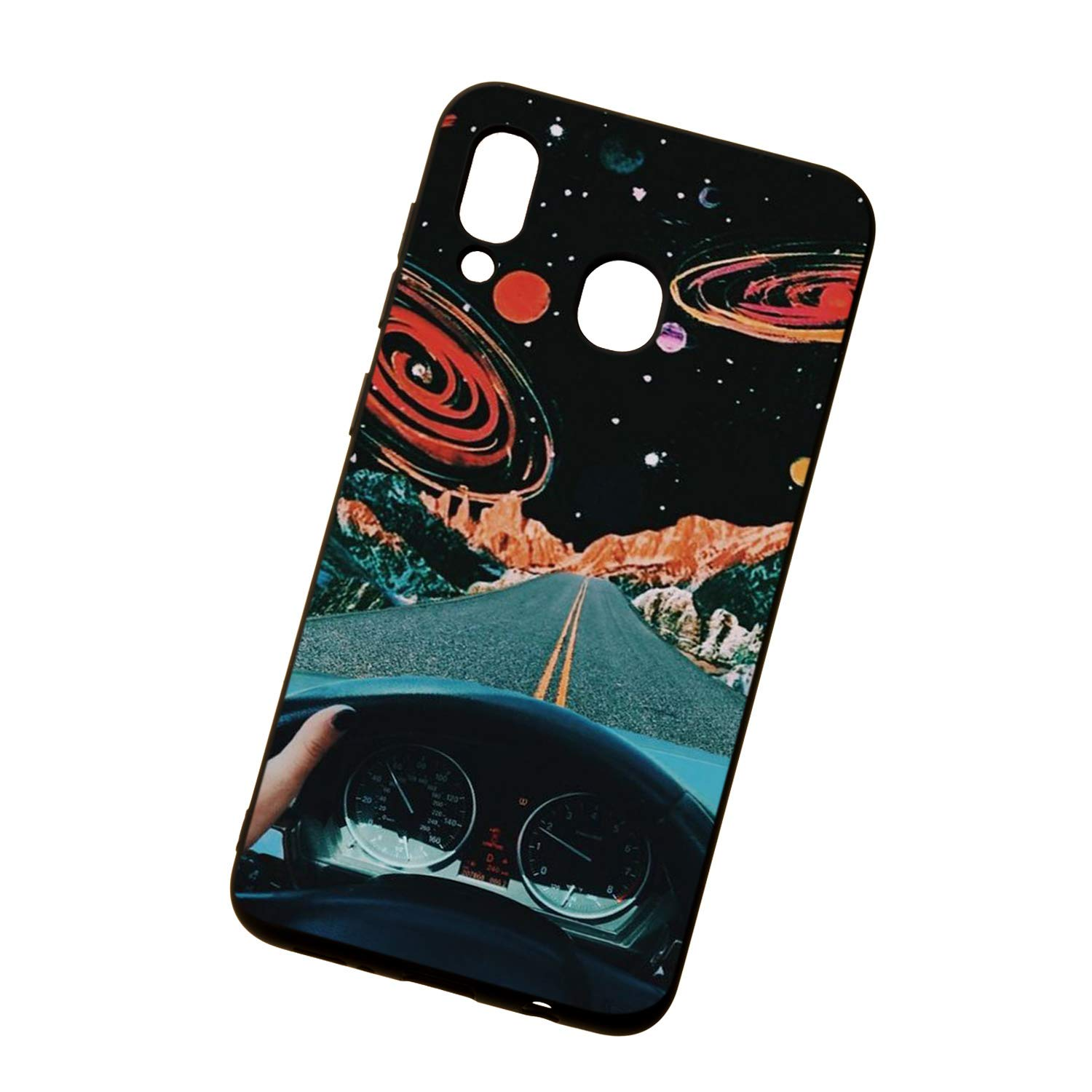 Crystal Clear Ultra Thin Transparent Compatible with for Samsung A40,Soft Silicone TPU Non Slip Rubber Gel Frame Colorful Flexible Bumper Cute Romantic Flower Animal Cartoon Design Pattern