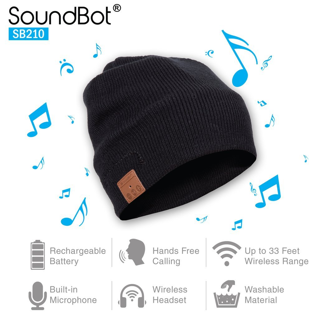 Soundbot SB210 HD Stereo Bluetooth 4.1 Wireless Smart Beanie Headset Musical Knit Headphone Speaker Hat Speakerphone Cap,built-in Mic (BLK)
