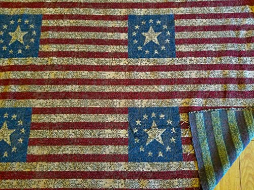 """Chenille Fabric, Vintage American Flag Design, 50"""" Wide, Sold by Yard"""