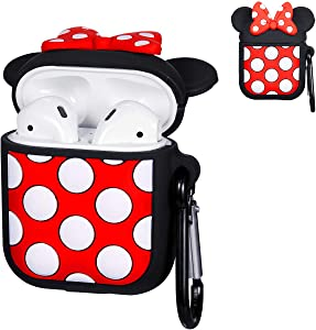 Logee Big Dots Minnie Case for Airpods 1&2,Cute Character Silicone 3D Funny Cartoon Airpod Cover,Soft Kawaii Fun Cool Animal Skin Kits with Carabiner,Unique Cases for Girls Kids Women Air pods