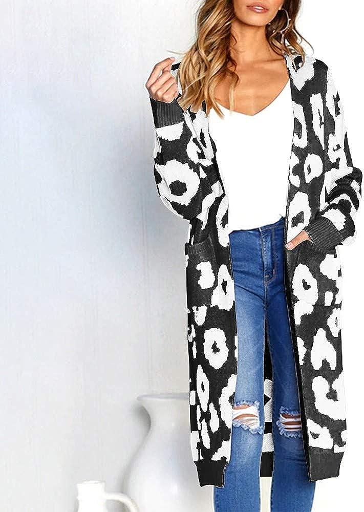 FNKDOR Women Fashion Knitted Tops Leopard Print Long Sleeve Cardigan T-Shirt Tops Sweater Coat ,