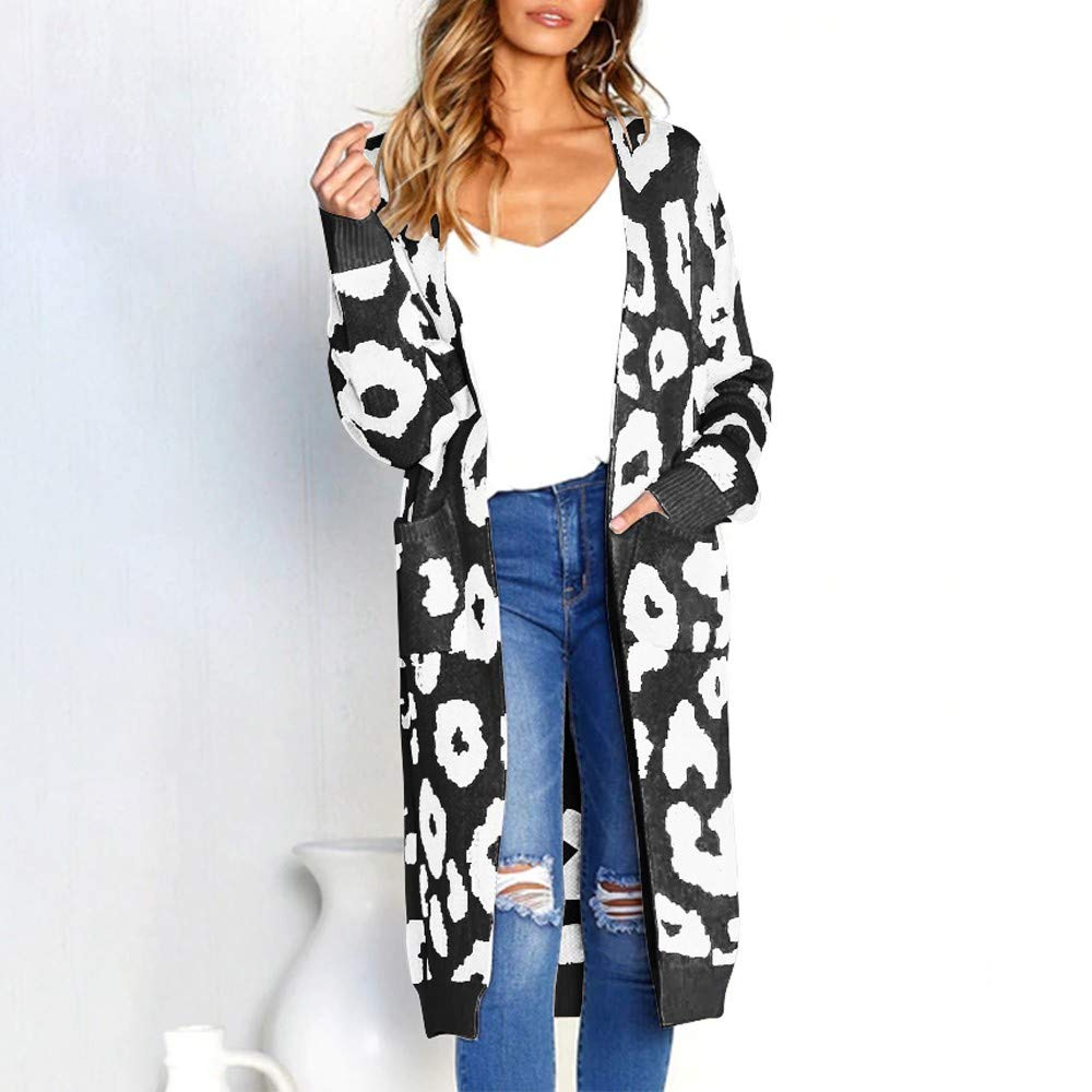 Letdown Fashion Women Knitted Print Cardigan Long Sleeve Tunics, T-Shirt Tops Sweater Coat at Amazon Womens Clothing store: