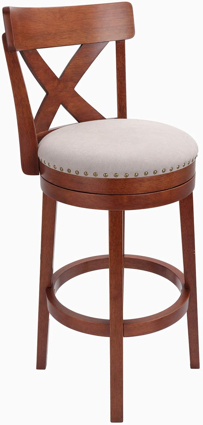 Furgle 30 Inch Bar Stools 360 Degree Swivel Rubber Wooden Counter Stool Diamond Shaped Hollow Backrest Fabric Upholstered Cushioned Seat Perfect for Kitchen Counter Pub or Bar(1 Stool,Cherry)
