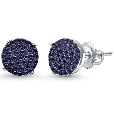 4c07d6421 Hip Hop Stud Earrings Men Women Unisex 925 Sterling Silver Round Pave  Simulated Black Cubic Zirconia