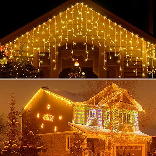 Icicle Lights Outdoor Christmas Lights 400 LED String Lights, 33ft 8 Modes Warm White Decorative Lights for Home Garden Bedroom Christmas Wedding Party Decorations