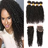 Virgin Kinky Curly 4 Bundles With Closure Grade 8A Remy Brazilian Hair Bundle 4x4 Lace Closures Hair Deals Real Hair Weave Pieces For Women 16 18 20 22 + 14inch