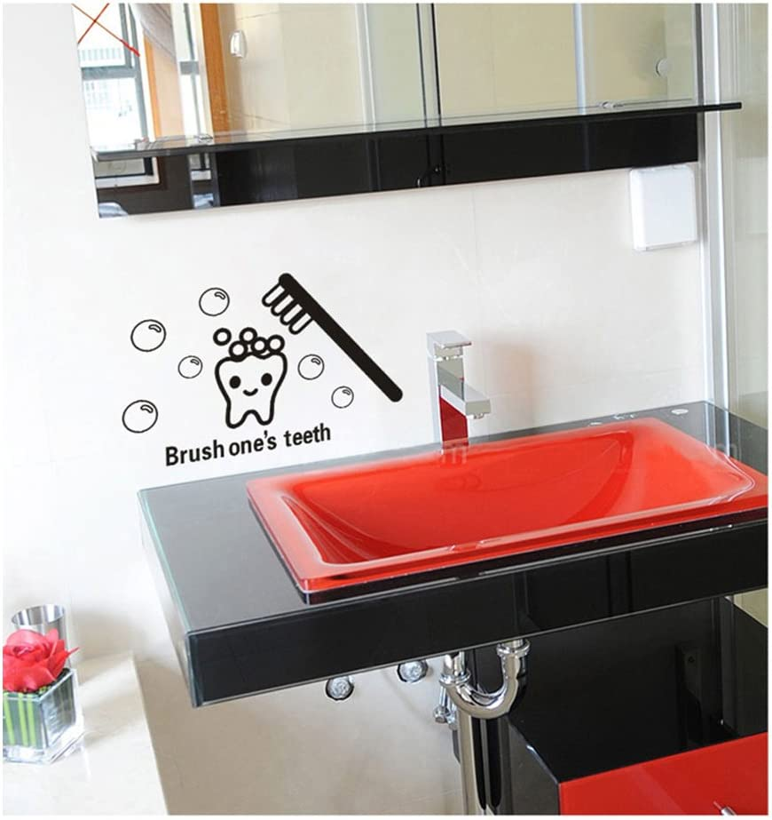 Amazon Com Funny Adhesive Removable Bathrooms Walls Small Vinyl Diy Stickers Murals Decals Tattoos With Black Cartoon Tooth Teeth Brush Soap Bubbles And Quote Designs By Vaga Home Kitchen