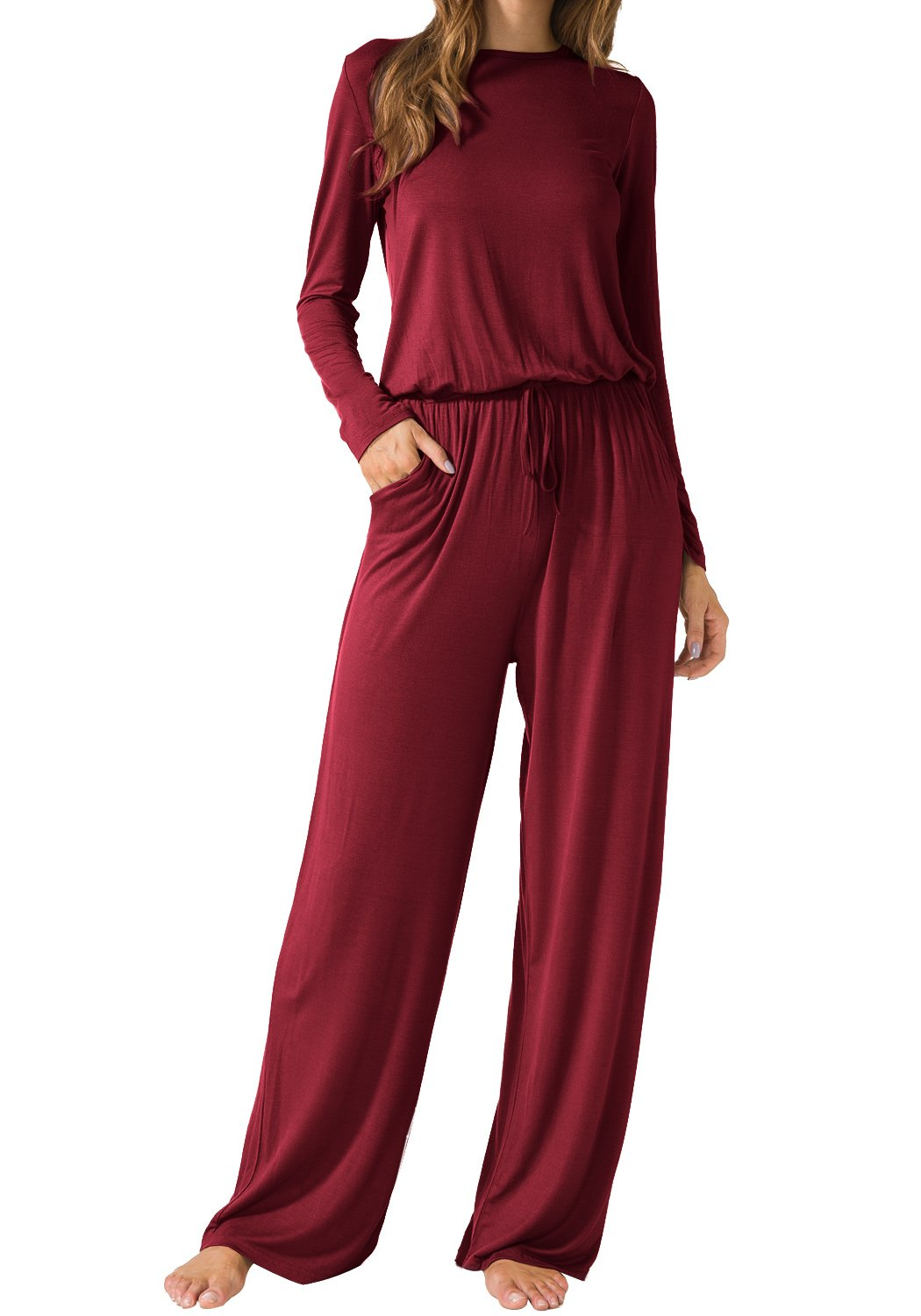 5edc8bc21e18 LAINAB Womens Casual Long Sleeves O Neck Jumpsuits Rompers with Pockets  Wine L