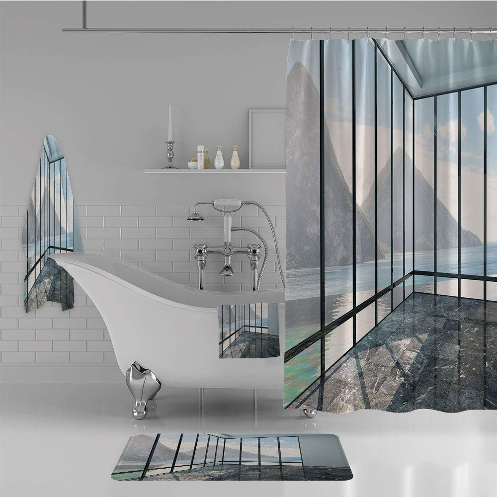 iPrint Bathroom 4 Piece Set Shower Curtain Floor mat Bath Towel 3D Print,Clouds Scenery from Glass Window Photo,Black,Fashion Personality Customization adds Color to Your Bathroom.