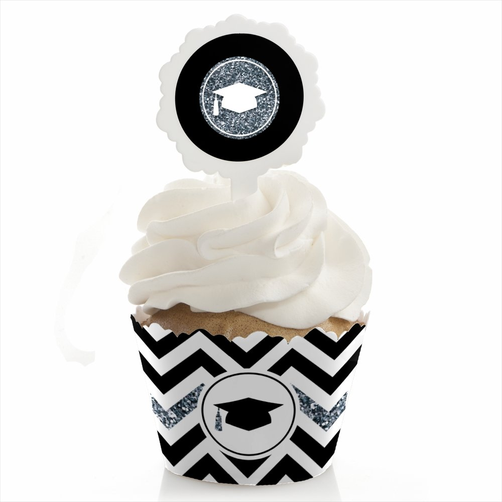 Big Dot of Happiness Silver Tassel Worth The Hassle - Graduation Cupcake Wrapper and Pick - Cupcake Decorating Kit - Set of 24