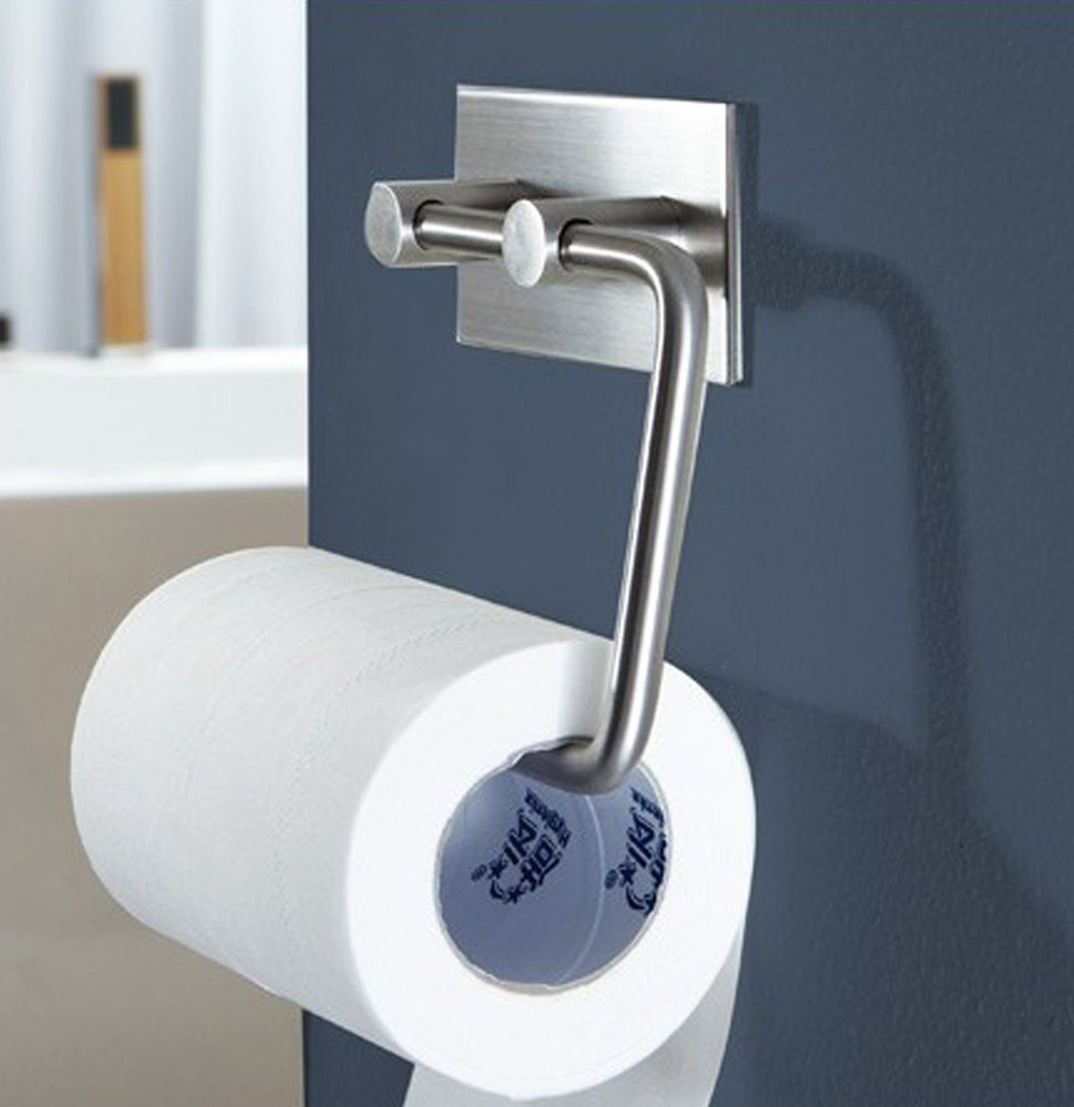 Amazon com  KONE Self adhesive Toilet Paper Holder Storage Bathroom Kitchen  Paper Towel Dispenser Tissue Roll Hanger Wall Mount  Stainless Steel  Brushed. Amazon com  KONE Self adhesive Toilet Paper Holder Storage