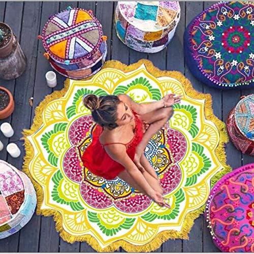 Rundes Strandtuch Quaste Dekor mit kleinen Kugeln Blumenmuster 147 * 147CM Runde Tischdecke Yoga Picknickmatte...