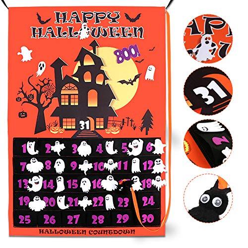 [해외]OurWarm Halloween Calendar 2019 Linen Halloween Countdown Calendar for Kids 31 Days Home Decor Advent Calendar with Bat Ghosts Boo! / OurWarm Halloween Calendar 2019 Linen Halloween Countdown Calendar for Kids 31 Days, Home Decor A...