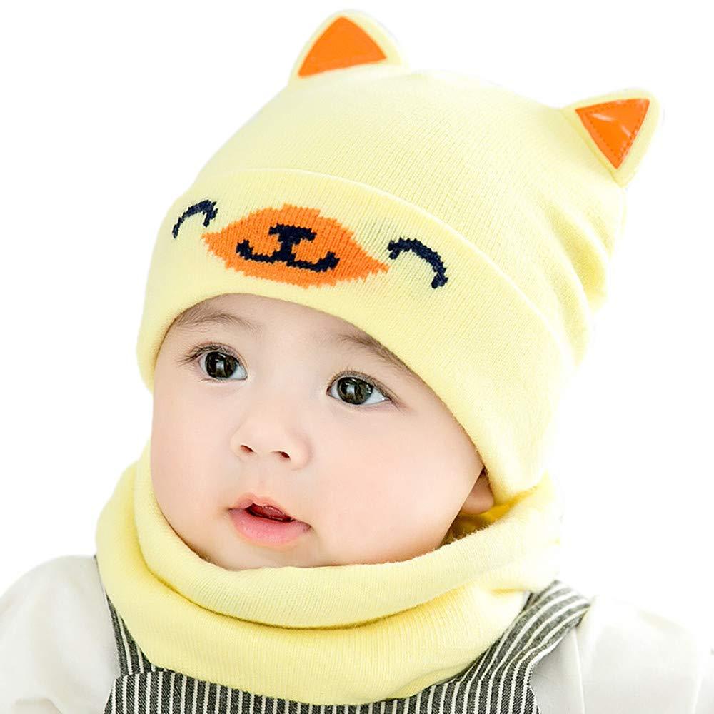 Ensemble bonnet + écharpe bébé fille garçons, BZLine 0-2 ans bonnet tricoté chaud pour bébé Cache-cou-Modèle de chien mignon