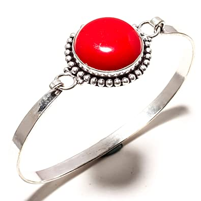 Red Coral Gemstone Handmade Bracelet Cuff Fashion Jewelry