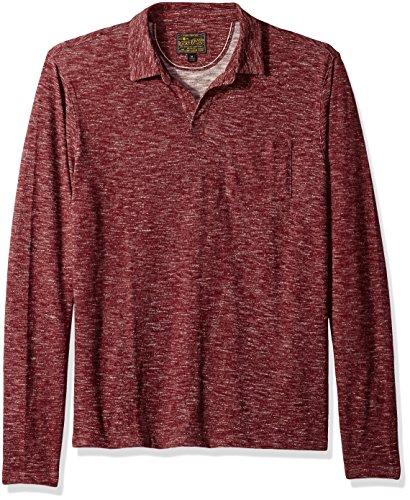 Lucky Brand Men's Long Sleeve Johnny Collar Polo Shirt, Tawny Port M