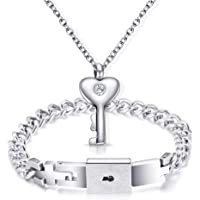 NIBASTAR His Hers Love Heart Key Lock Bangle Bracelet Tag Pendat Necklace Set in a Gift Box
