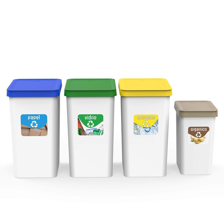 USE FAMILY papeleras Recycle. Pack 4 papeleras de reciclaje cocina- 3 contenedores 28L (34 x 25 x 45) y 12L (27x20x33 cm) + 4 Pegatinas Reciclaje (Marrón +3)